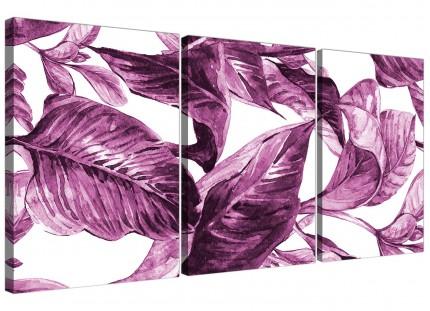 Plum Aubergine White Tropical Leaves Canvas Wall Art - Split Set of 3 - 3319