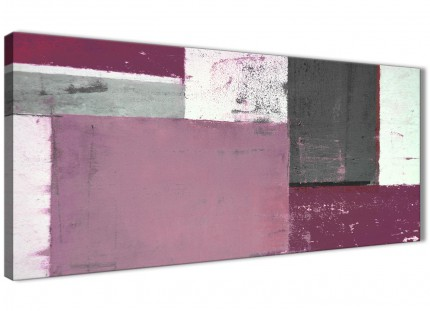 Plum Grey Abstract Painting Canvas Wall Art Picture - Modern 120cm Wide - 1342