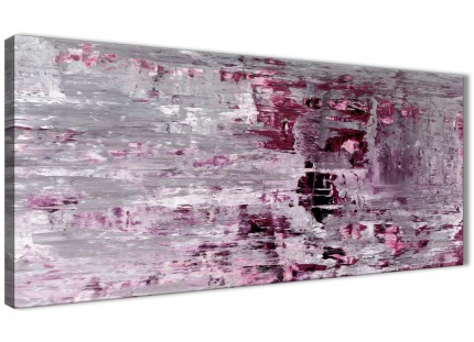 Plum Grey Abstract Painting Wall Art Print Canvas - Modern 120cm Wide - 1359