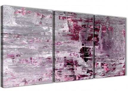 Plum Grey Abstract Painting Wall Art Print Canvas - Split Set of 3 - 125cm Wide - 3359