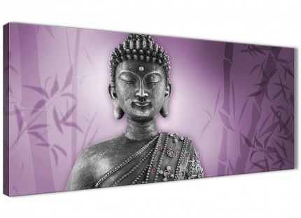 Purple and Grey Silver Canvas Art Prints of Buddha - Modern 120cm Wide - 1330