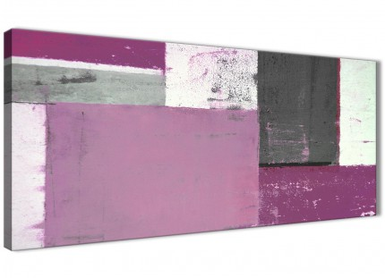 Purple Grey Abstract Painting Canvas Wall Art Picture - Modern 120cm Wide - 1355