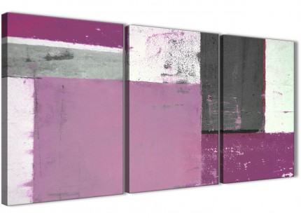 Purple Grey Abstract Painting Canvas Wall Art Picture - Multi Set of 3 - 125cm Wide - 3355