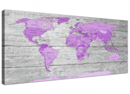 Large Purple and Grey Map of World Atlas Canvas Wall Art Print Modern 120cm Wide - 1298