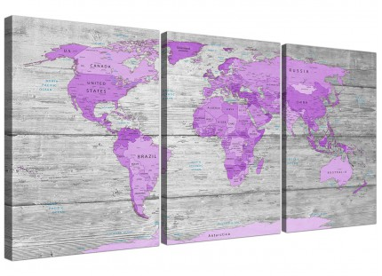 Purple and Grey Map of World Atlas Canvas Wall Art Print Split Triptych - 3298