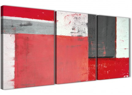 Red Grey Abstract Painting Canvas Wall Art Split 3 Part - 125cm Wide - 3343
