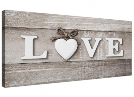 Shabby Chic Love Quote - Grey Canvas Wall Art Picture - Modern 120cm Wide - 1297