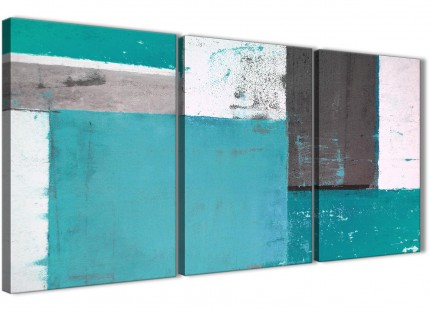 Teal Grey Abstract Painting Canvas Wall Art Split 3 Set - 125cm Wide - 3344