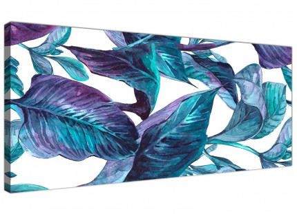 Turquoise and White Tropical Leaves Canvas Wall Art Prints - Modern 120cm Wide - 1323