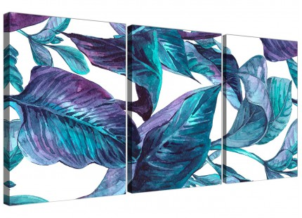 Turquoise and White Tropical Leaves Canvas Wall Art Prints - Split Set of 3 - 3323