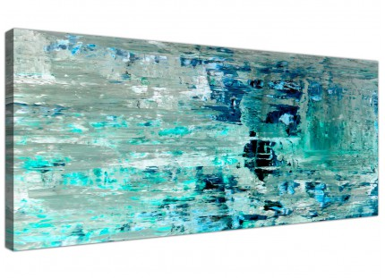Turquoise Teal Abstract Painting Wall Art Print Canvas - Modern 120cm Wide - 1333