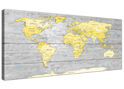 Large Yellow Grey Map of World Atlas Canvas Wall Art Print - Maps Modern 120cm Wide - 1305