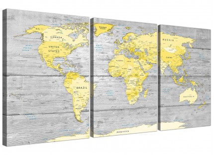 Large Yellow Grey Map of World Atlas Canvas Wall Art Print - Maps Split Triptych - 3305