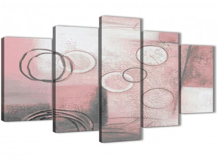 5 Piece Blush Pink Grey Painting Abstract Office Canvas Wall Art Decorations - 5433 - 160cm XL Set Artwork