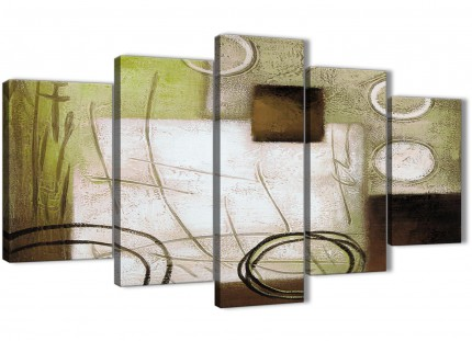 5 Piece Brown Green Painting Abstract Living Room Canvas Wall Art Decor - 5421 - 160cm XL Set Artwork