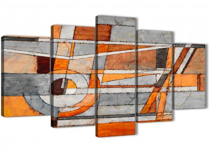5 Piece Burnt Orange Grey Painting Abstract Dining Room Canvas Pictures Decorations - 5405 - 160cm XL Set Artwork