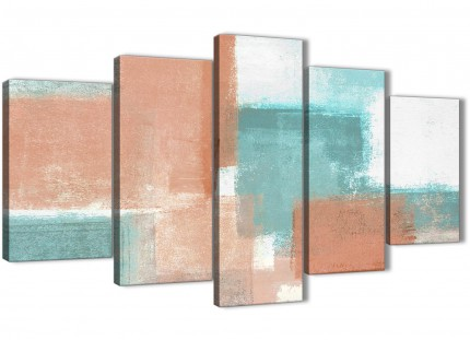 5 Piece Coral Turquoise Abstract Living Room Canvas Pictures Decorations - 5366 - 160cm XL Set Artwork