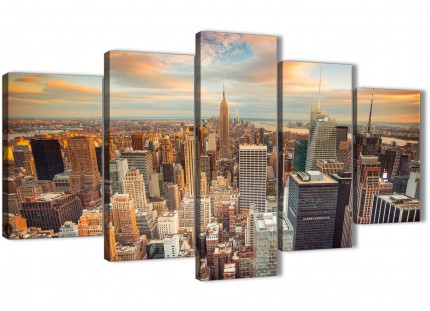 5 Piece Landscape Canvas Wall Art Pictures - New York Skyline Sunset Manhattan Cityscape - 5202 - 160cm XL Set Artwork