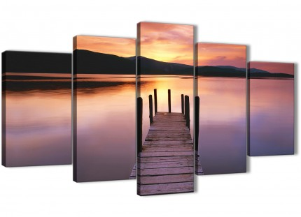 Purple Sunset Jetty Derwent Water Lake - 5 Panel Landscape Canvas Wall Art Prints - 5214 - 160cm XL Set Artwork