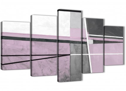 5 Panel Lilac Grey Painting Abstract Bedroom Canvas Pictures Decor - 5395 - 160cm XL Set Artwork