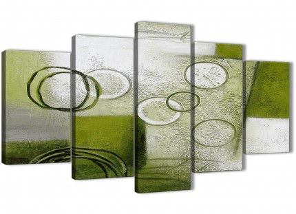 5 Piece Lime Green Painting Abstract Dining Room Canvas Wall Art Decor - 5434 - 160cm XL Set Artwork