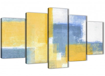 5 Piece Mustard Yellow Blue Abstract Bedroom Canvas Pictures Decorations - 5371 - 160cm XL Set Artwork