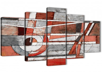 5 Piece Red Grey Painting Abstract Living Room Canvas Pictures Decor - 5401 - 160cm XL Set Artwork