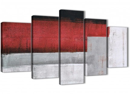 5 Piece Red Grey Painting Abstract Bedroom Canvas Pictures Decorations - 5428 - 160cm XL Set Artwork