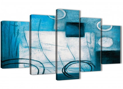 5 Piece Teal White Painting Abstract Dining Room Canvas Wall Art Decorations - 5432 - 160cm XL Set Artwork