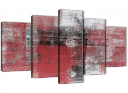 5 Panel Red Black White Painting Abstract Dining Room Canvas Pictures Decor - 5397 - 160cm XL Set Artwork