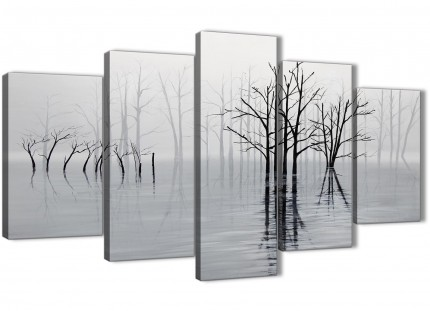 5 Piece Black White Grey Tree Landscape Painting Bedroom Canvas Wall Art Decor - 5416 - 160cm XL Set Artwork