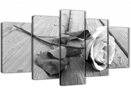 5 Piece Black White Rose Floral Office Canvas Wall Art Decor - 5372 - 160cm XL Set Artwork