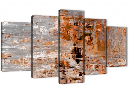5 Piece Burnt Orange Grey Painting Abstract Dining Room Canvas Pictures Decorations - 5415 - 160cm XL Set Artwork