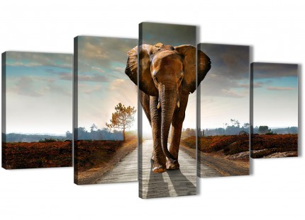 Modern Elephant Landscape - 5 Panel Canvas Wall Art Prints - 5209 - 160cm XL Set Artwork