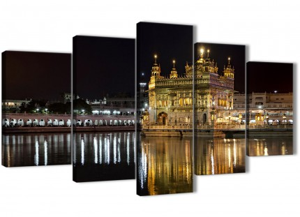 5 Piece Canvas Wall Art Prints - Sikh Golden Temple Amritsar Night - Islamic Canvas - 5195 - 160cm XL Set Artwork
