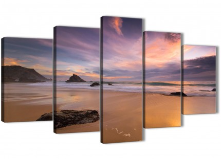 5 Part Canvas Wall Art Pictures - Panoramic Landscape Beach Sunset - 5198 - 160cm XL Set Artwork