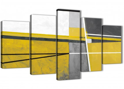 5 Piece Mustard Yellow Grey Painting Abstract Bedroom Canvas Wall Art Decorations - 5388 - 160cm XL Set Artwork