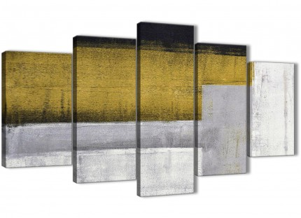 5 Panel Mustard Yellow Grey Painting Abstract Bedroom Canvas Pictures Decor - 5425 - 160cm XL Set Artwork