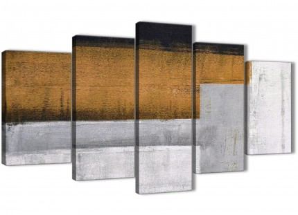 5 Piece Orange Grey Painting Abstract Office Canvas Wall Art Decor - 5426 - 160cm XL Set Artwork