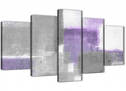 5 Part Purple Grey Painting Abstract Living Room Canvas Pictures Decorations - 5376 - 160cm XL Set Artwork