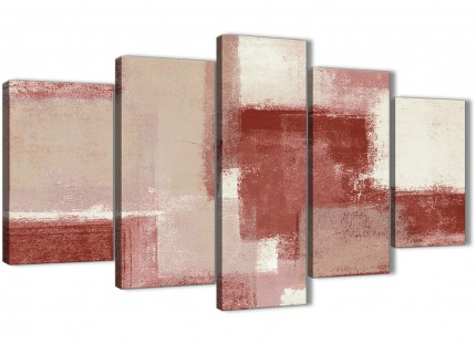5 Piece Red and Cream Abstract Dining Room Canvas Wall Art Decor - 5370 - 160cm XL Set Artwork