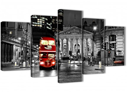 5 Piece Red London Bus Black White City Street Dining Room Canvas Pictures Decor - 5208 - 160cm XL Set Artwork