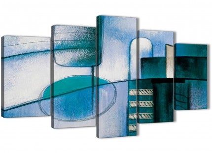 5 Piece Teal Cream Painting Abstract Office Canvas Wall Art Decor - 5417 - 160cm XL Set Artwork