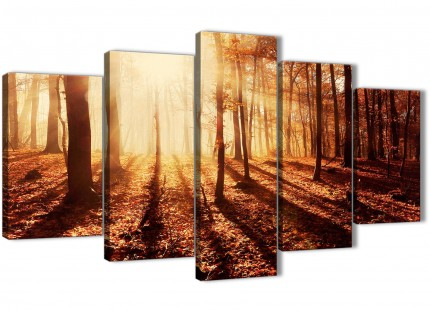 5 Piece Trees Canvas Wall Art Prints - Autumn Leaves Forest Scenic Landscapes - 5386 Orange - 160cm XL Set Artwork