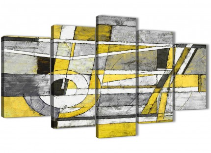 5 Piece Yellow Grey Painting Abstract Living Room Canvas Wall Art Decorations - 5400 - 160cm XL Set Artwork