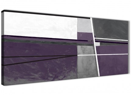 Aubergine Grey Painting Living Room Canvas Pictures Accessories - Abstract 1392 - 120cm Print