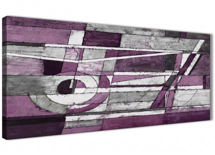 Aubergine Grey White Painting Living Room Canvas Wall Art Accessories - Abstract 1406 - 120cm Print