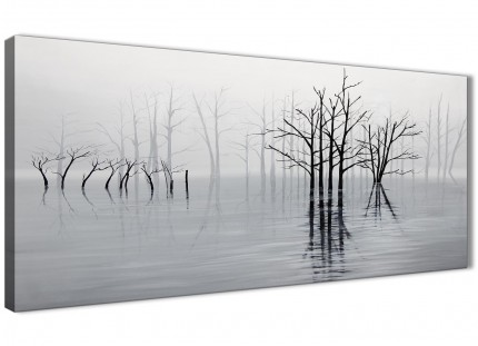 Black White Grey Tree Landscape Painting Living Room Canvas Pictures Accessories - 1416 - 120cm Print