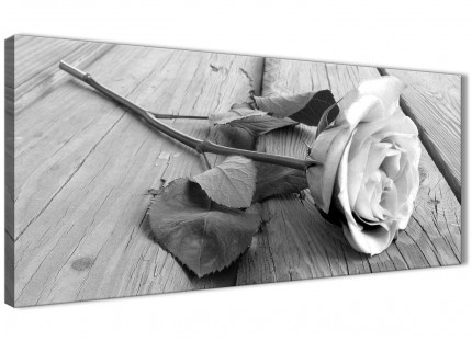 Black White Rose Floral Bedroom Canvas Wall Art Accessories - 1372 - 120cm Print
