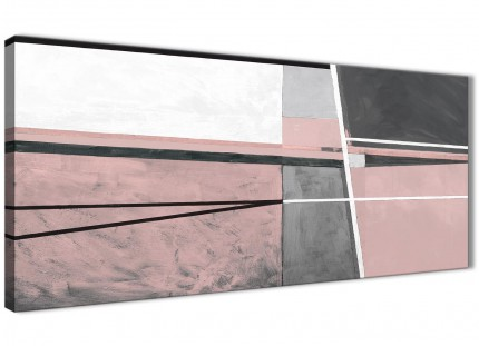 Blush Pink Grey Painting Bedroom Canvas Wall Art Accessories - Abstract 1393 - 120cm Print